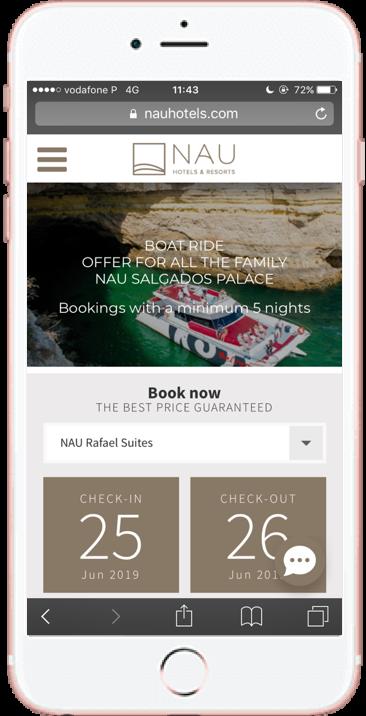 NAU hotels mobile device