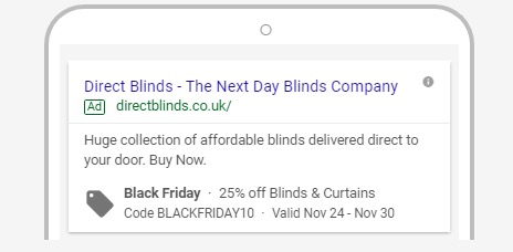 Black Friday PPC search Ad