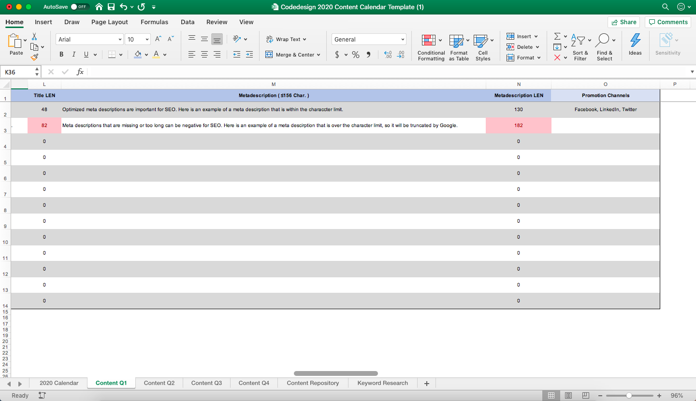 Content Calendar Meta description length screen shot