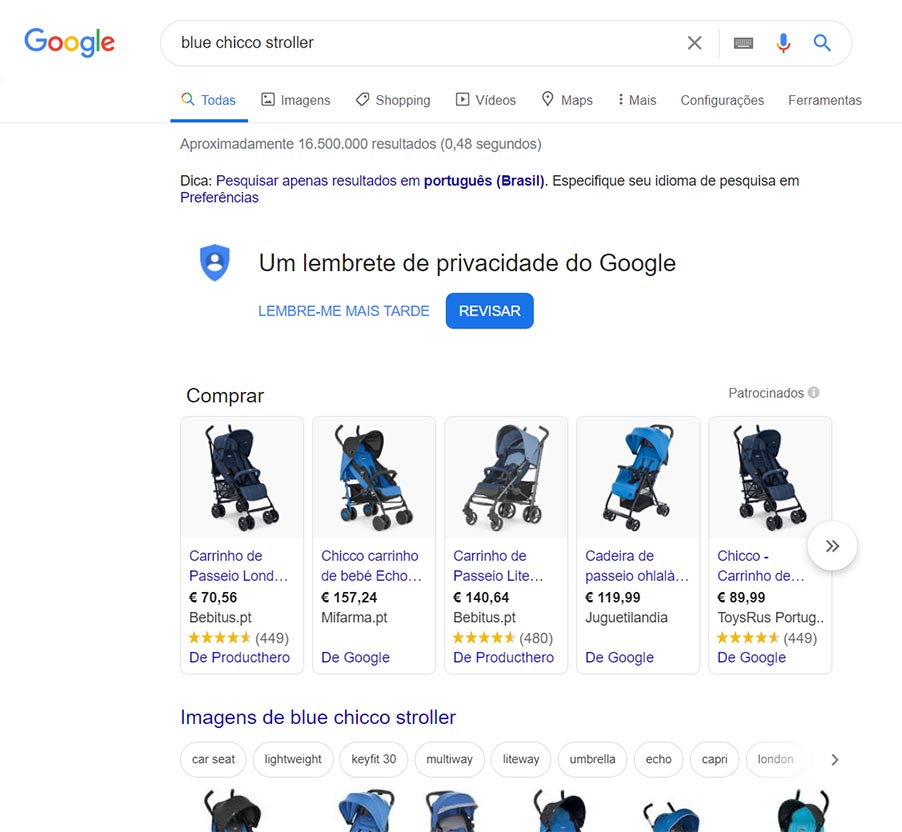 Google search blue chicco stroller