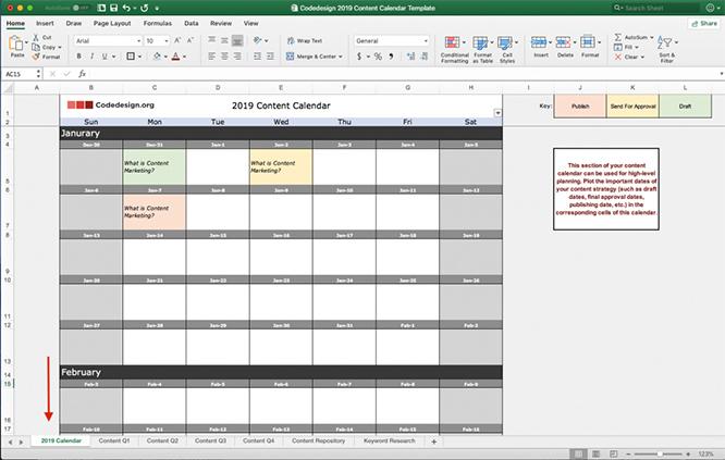 Content calendar template 2019 schedule