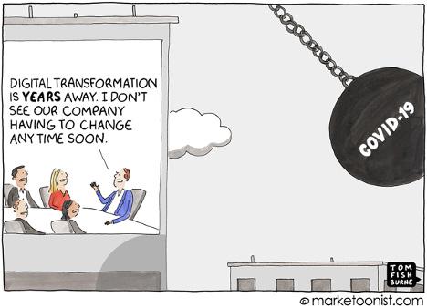 covid19 digital transformation cartoon