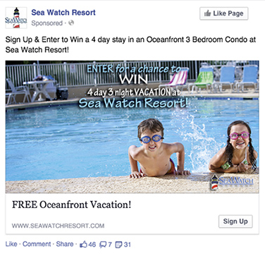 hotel free giveaway facebook post
