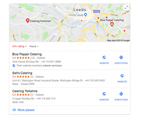 catering google my business
