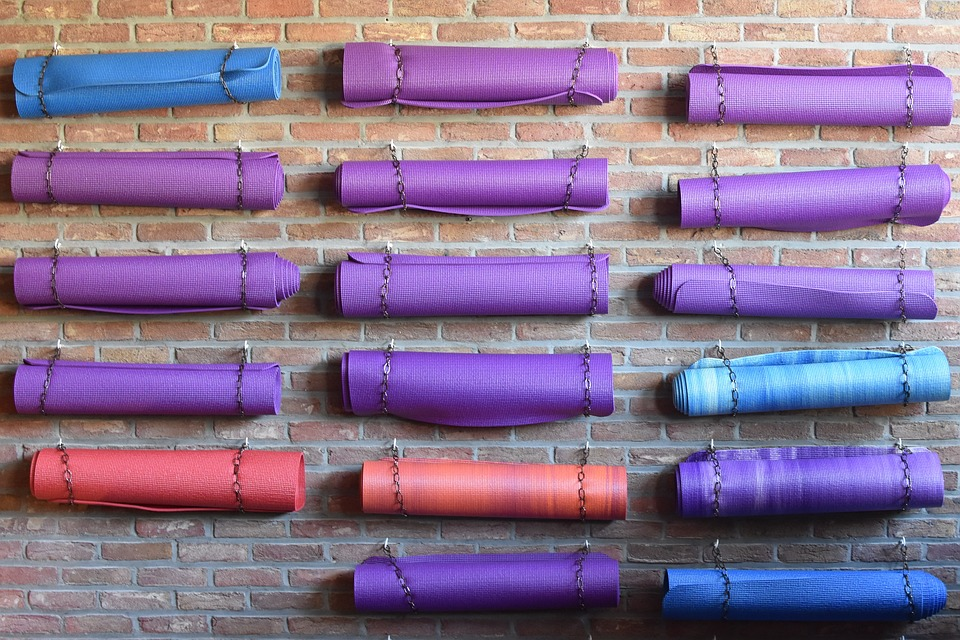 yoga mats in yoga studio