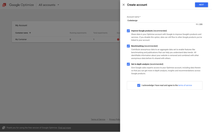 Google-Optimize-Create-Account
