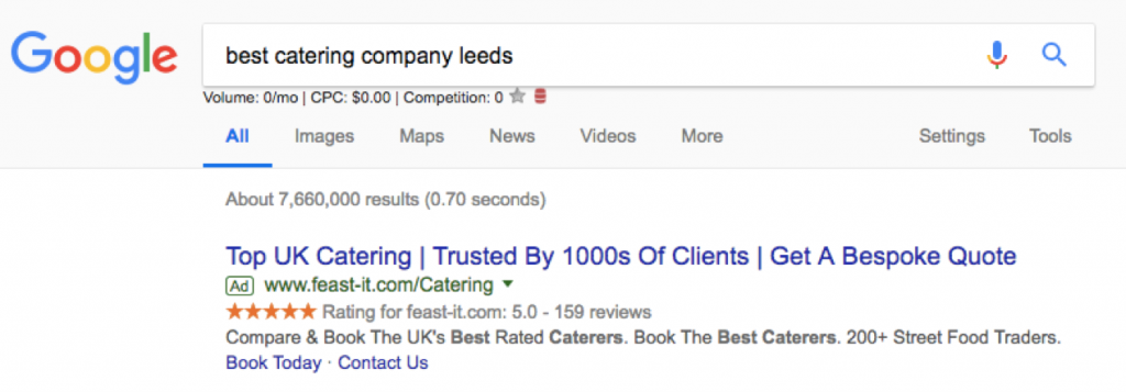 catering company paid search ads