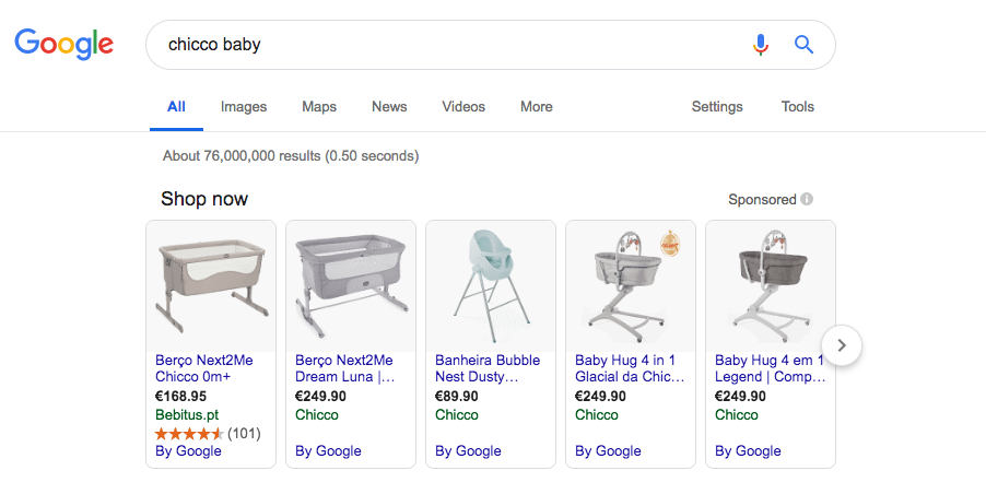 chicco google shopping campaign